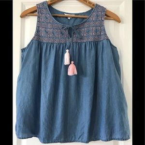 Crown & Ivy chambray peasant top with tassels